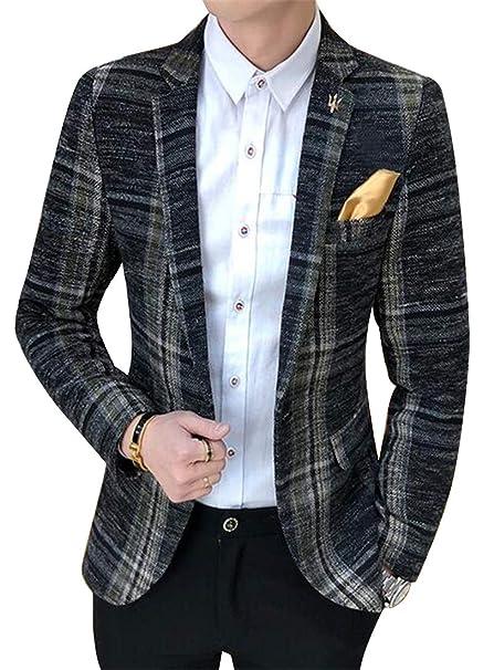 Jotebriyo Mens Brain-Style One Button Checkered Slim Blazer Jacket