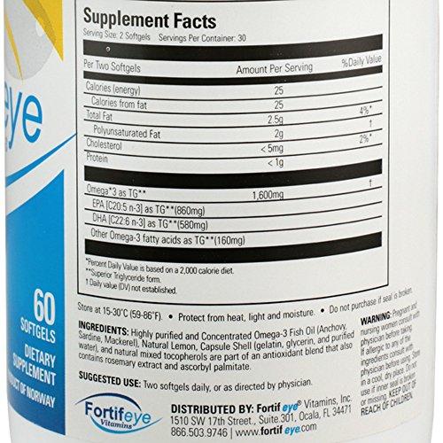 Fortifeye Vitamins Super Omega 3 Fish Oil, Natural Triglyceride Form Omega-3 Supplement, Triple Strength 860 EPA + 580 DHA per Serving, 60 Softgel Capsules. by Fortifeye Vitamins (Image #2)