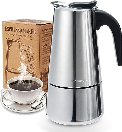 Godmorn Cafetera Italiana, Cafetera espressos en Acero inoxidable430, 10tazas(450ml),Conveniente para la Cocina de inducción,Cafetera Moka Clásica, Plata, Uso Doméstico y en la Oficina.: Amazon.es: Hogar