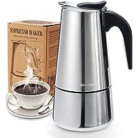 Godmorn Cafetera Italiana, Cafetera espressos en Acero inoxidable430, 10tazas(450ml),Conveniente para la Cocina de…