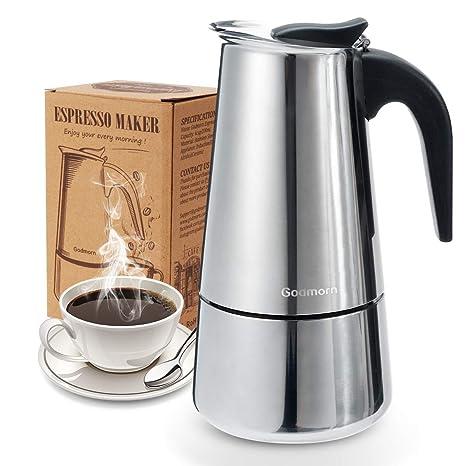 Godmorn Cafetera Italiana, Cafetera espressos en Acero inoxidable430, 9tazas(450ml),Conveniente para la Cocina de inducción,Cafetera Moka Clásica, ...