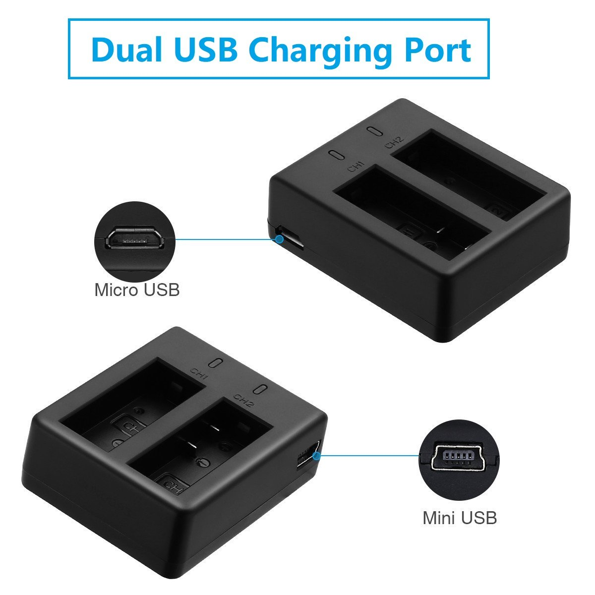 Vvhooy 1350mah Rechargeable Action Camera Battery Dual Charger Waterproof Xiaomi Yi Discovery 4k Compatible Camerapack Of 3 Vv 31350 Yi4kb Accessory Bundles