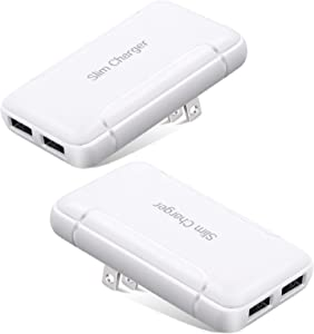 USB Charger Plug, Excgood Ultra Compact USB Wall Charger Foldable Wall Plug Compatible with iPhone 11 Pro Max/Xr/Xs/X, Galaxy S10/9/8/7, Pixel and More Smartphones, 2-Pack,White