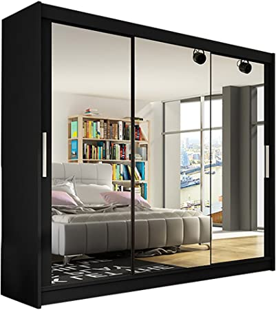 Armario moderno para dormitorio con 3 puertas correderas, de Ye Perfect Choice (tamaño grande, 3 x 250 cm), madera, negro, Without Carrying Service: Amazon.es: Hogar