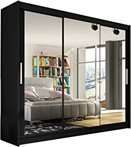 Armario moderno para dormitorio con 3 puertas correderas, de Ye Perfect Choice (tamaño grande, 3 x 250 cm), madera, negro, Without Carrying Service: Amazon.es: Hogar