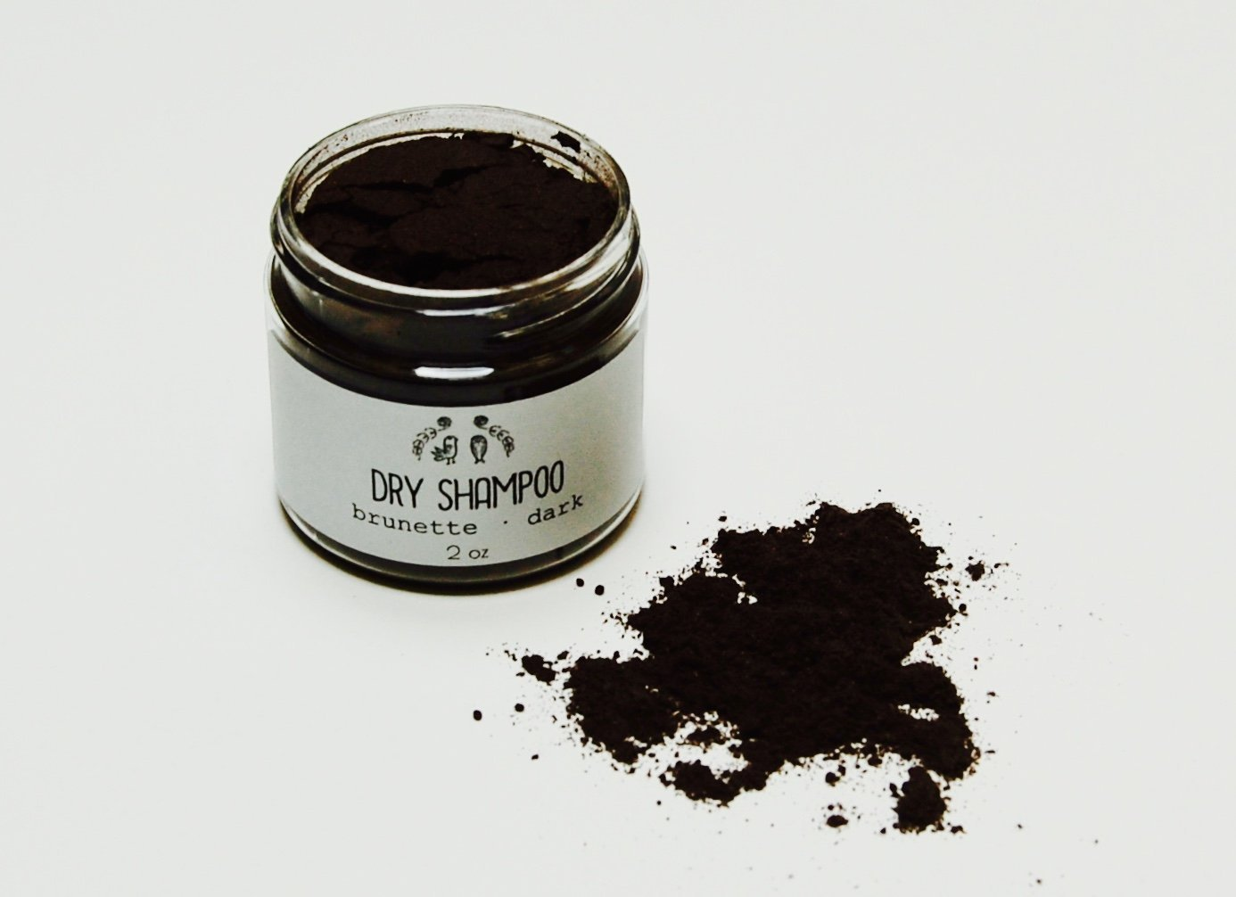 Natural Dry Shampoo//Dark Brown Brunette/Black//Hair Powder