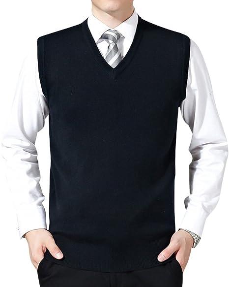 Herren V-Ausschnitt Pullunder Männer Slim Fit Ärmellos Strickweste  Einfarbig Business Stricken Weste 3c0b3fa64e