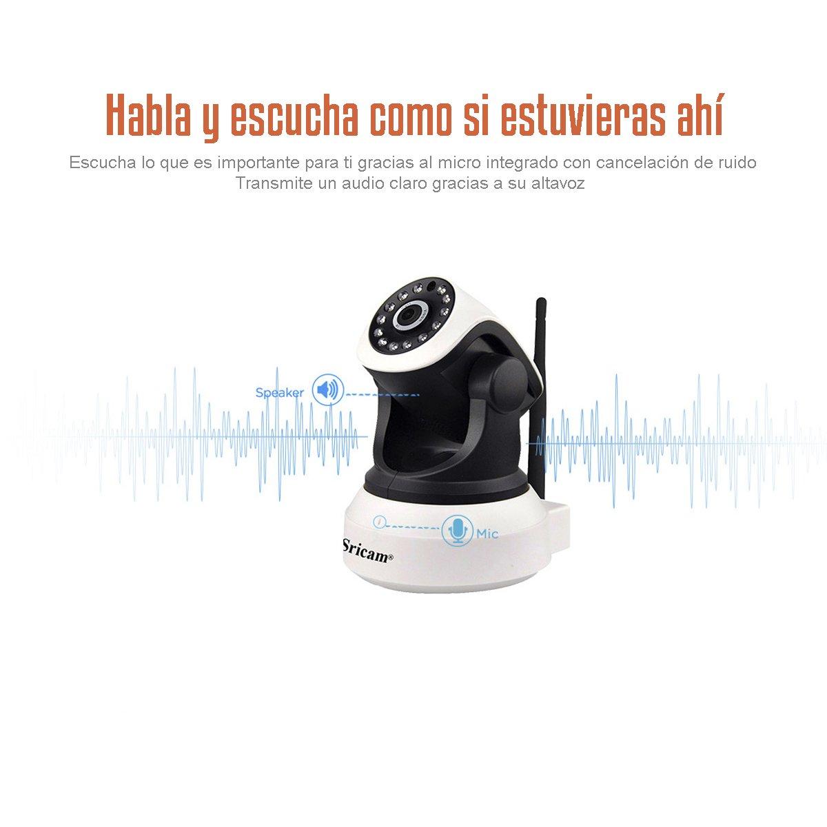 EZTECH-Camara IP WiFi de fácil instalación. Camara seguridad interior con altavoz y micrófono integrado, visión nocturna y detección de movimiento.