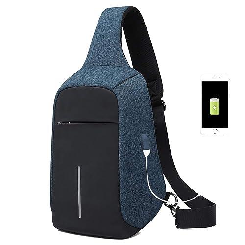 a80d9214ee 2018 Nuova moda qualità Oxford Sling Bag con porta di ricarica USB, Zaino  monospalla impermeabile
