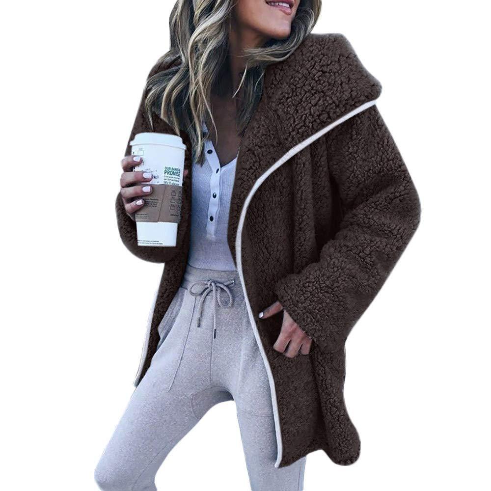 Dermanony Womens Coat Jacket Winter Warm Parka Outwear Solid Color Lapel Cardigan Sweater Casual Fleece Jacket Coat Coffee by Dermanony _Coat