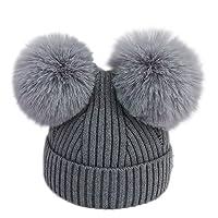 Topgrowth Cappello Bambina Berretti Invernali Ragazza Crochet Cappello A Maglia Bimbo Caldo Cappello Doppio PON di Pelliccia Bambino Unisex