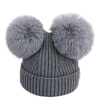 ab4343196897 Sunenjoy Bébé Garçons Filles Bonnet Ponpom à Tricoter Doublure en Polaire  Douce Chapeau Hiver Chaud Épaissir