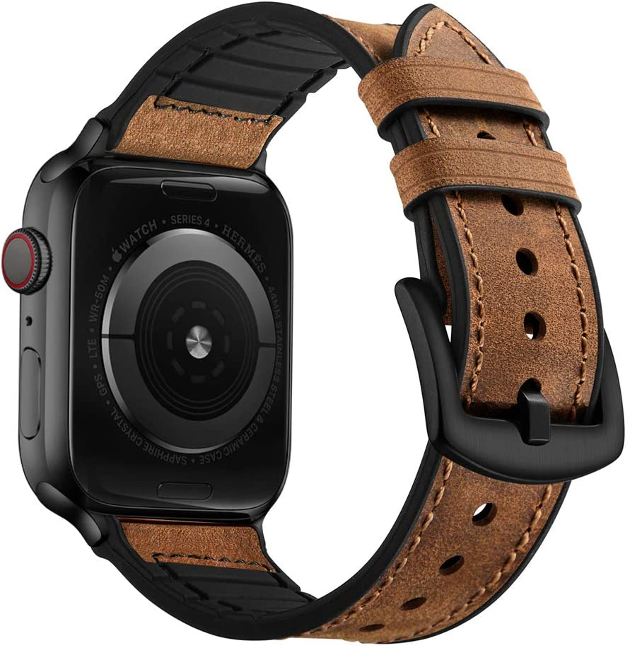 OUHENG Compatible with Apple Watch Band 42mm 44mm, Sweatproof Genuine Leather and Rubber Hybrid Band Strap Compatible with iWatch Series 5 4 3 2 1, Brown Band with Black Adapter