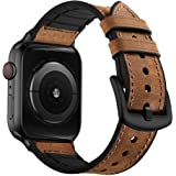 OUHENG Compatible with Apple Watch Band 42mm 44mm, Sweatproof Genuine Leather and Rubber Hybrid Band Strap Compatible…