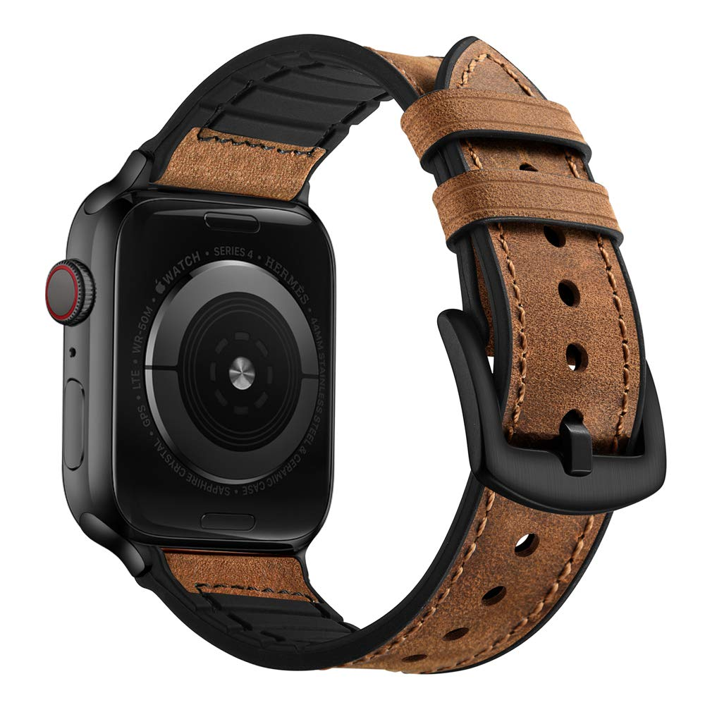 OUHENG Compatible with Apple Watch Band 42mm 44mm, Sweatproof Genuine Leather and Rubber Hybrid Band Strap Compatible with iWatch Series 5 Series 4 Series 3 Series 2 Series 1, Brown by OUHENG