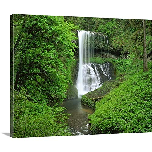 (Solid-Faced Canvas Print Wall Art Print Entitled Oregon, Silver Falls State Park, Waterfall in The Tropical Rainforest 20
