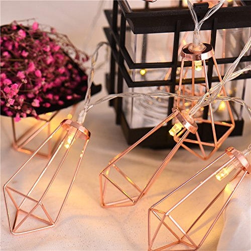 10Ft Rose Gold Wall Decor Geometric Boho LED Bedroom Fairy Lights Battery Powered Metal Cage String Lights For Wedding Party Indoor Patio Camping