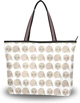 Women Handle Style Skulls Faces Satchel Handbags Tote Purse Shoulder Bag Big Capacity Handbag