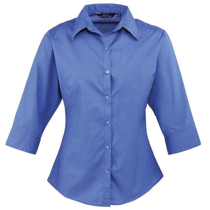 Premier - Blusa de mujer, de manga tres cuartos de popelina, lisa, para