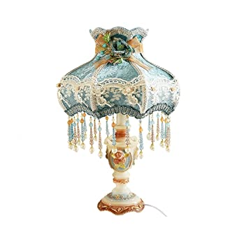 Lampe Avec Chevet Bureau Dentelle En Bleu De Tissu TK3F1lJc