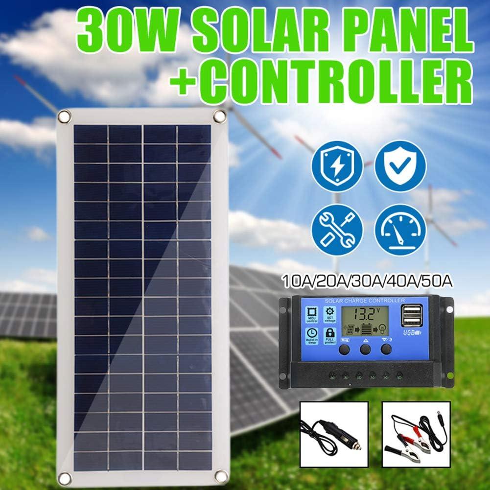 LAMP-XUE 30W 12 V zonnepaneel Dual USB Output Solar Cells Poly Solar Panel 10/20/30/40/50A Controller voor auto jacht batterij boot oplader 40 Acontroller
