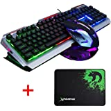 FELiCON® Gaming Keyboard Mouse Sets, V1 104 Keys Mixed Backlit Ergonomic Gamer Keyboard + Wired 3200DPI 6 Buttons USB Optical Gameing Mouse +Mouse Pad for PC Laptop Computer/Computer (Silver)