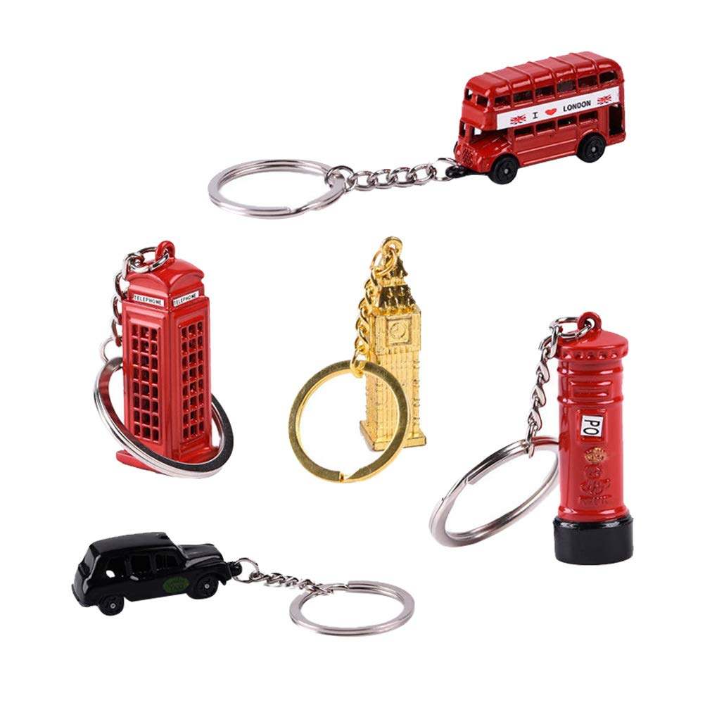 TOYANDONA London Souvenir Keychain with London Taxi London Bus Big Ben Post Box Two Telephone Boxes London Landmark Souvenir Gift 5pcs