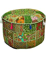 Aakriti Gallery Indian Pouf Footstool Ethnic Embroidered Pouf Cover Indian Cotton Round Pouffe Ottoman Pouf Cover Pillow Ethnic Decor Art - Cover Only (22x14inch) (Green)
