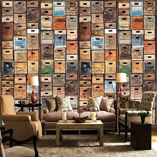 (BZDHWWH Custom Mural American Retro Personality 3D Creative Bookshelf Bookcase Library Cafe Bar Wallpaper Wallpaper Murals,170Cm (H) X 255Cm (W))