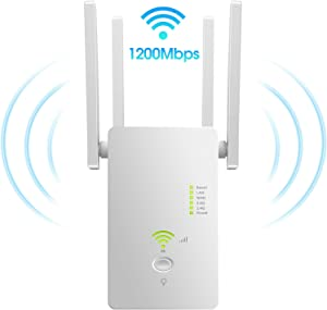 AC1200 WiFi Range Extender |Repeater| 2.4+5Ghz Dual Band Wi-Fi Amplifier Repeater,WiFi Long Range Extender Repeater/Access Point/Router Dual Band Wireless Signal Booster