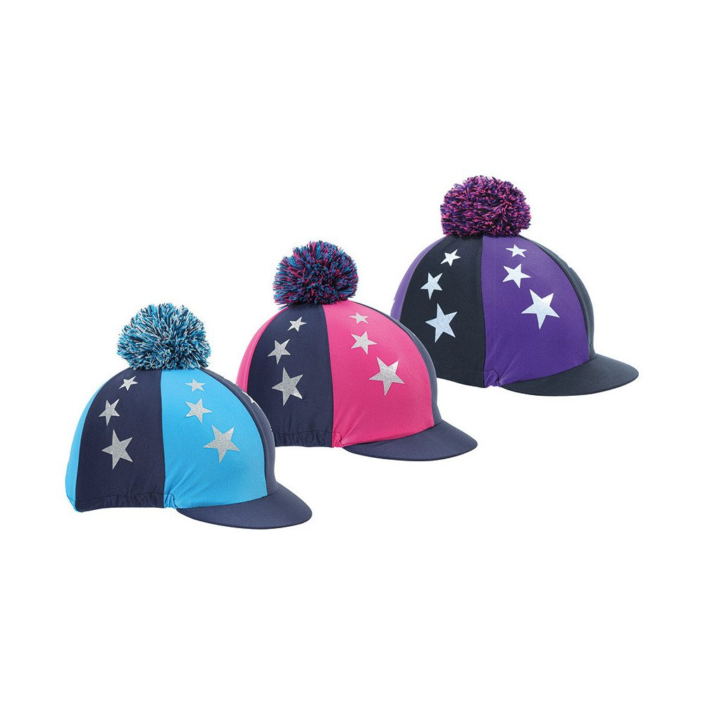 Shires Pom Pom Housse pour bombe d'équitation pour enfant avec étoiles