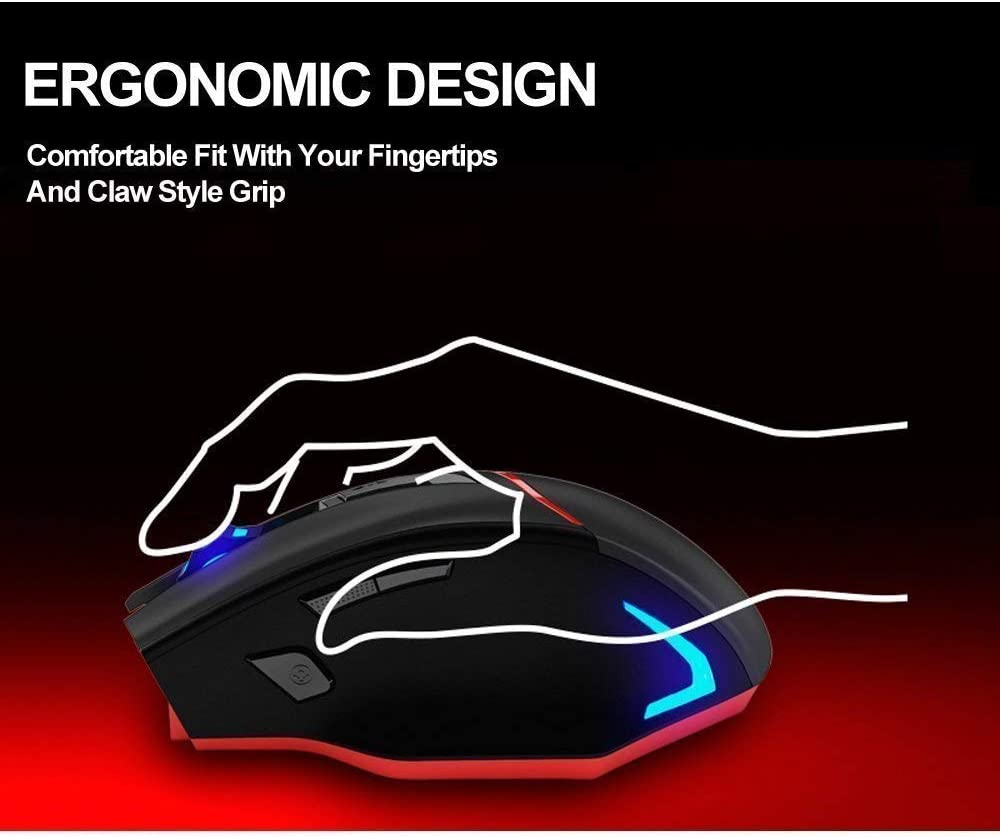BAIYI Wireless Mouse Ergonomic Mute Gaming Mouse 6-Key RGB Backlit 2400 DPI