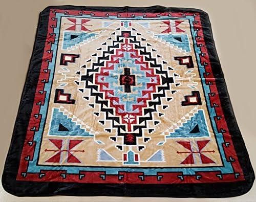 Southwestern Navajo Aztec Full Double Size 1 Ply Plush Blanket Purple