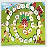 Cotton Microfiber Hand Towel,Board Game,Barn Rustic Farm Landscape Vegetables Nature Cow Pig Duck Farmer Boy Cartoon Decorative,Multicolor,for Kids, Teens, and Adults,One Side Printing