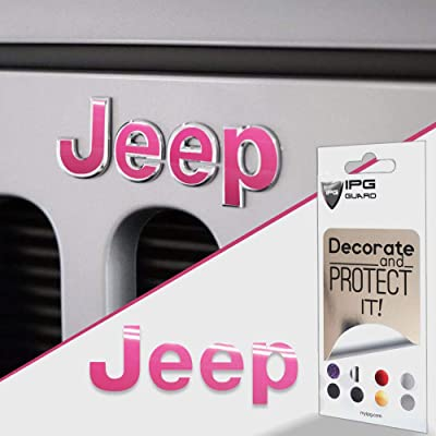 IPG for Jeep Wrangler 2007-2020 Grille Emblem Overlay Sticker - Emblem Do it Yourself Stickers Set Personalize Your Wrangler (Pink): Arts, Crafts & Sewing