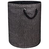"""DII Woven Paper Basket or Bin, Collapsible & Convenient Home Organization Solution for Bedroom, Bathroom, Dorm or Laundry(Large Round - 15x20""""), Brown & Black Diamond Basketweave"""
