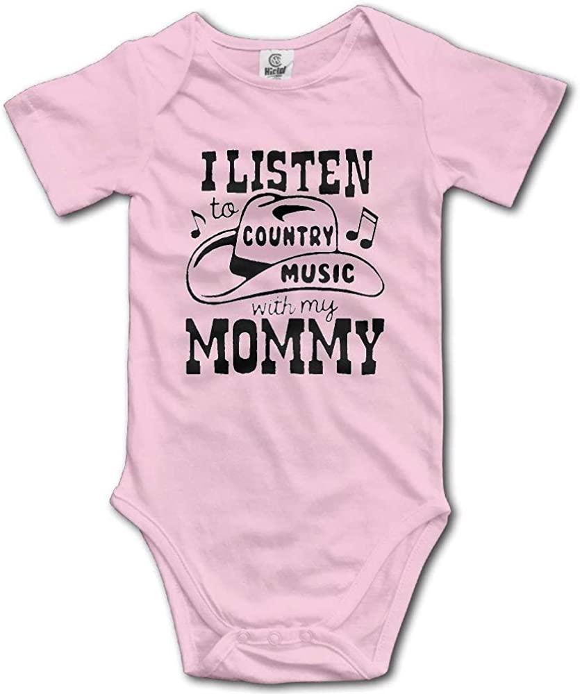 CKS DA WUQ I and My Mother Listen to Country Music Newborn Unisex Boys Girls Short Sleeve Bodysuit Outfits