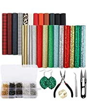 SGHUO 24pcs Christmas Faux Leather Sheets Embossed Fabric Sheets for Making Earrings, Bows, Jewelry, Wallet, and DIY Sewing Craft (6.3 Inches x 8.3 Inches)