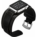 Elobeth iWatch Band 44mm 42mm Genuine Leather Band Buckle Cuff Bracelet Wrist Watch Band Adapter Compatible Apple Watch Series 4/3/2/1 (44/42mm Cuff Black)