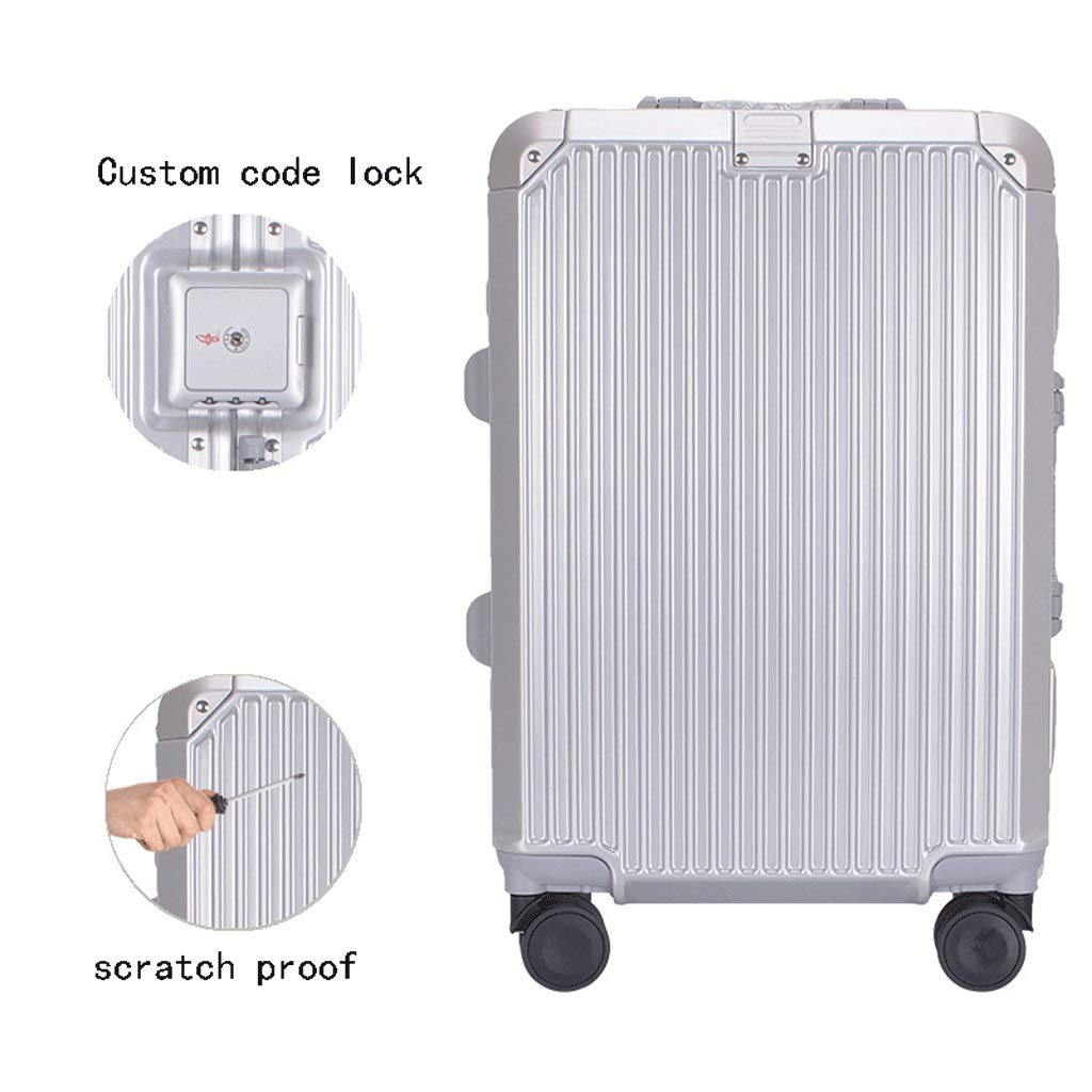 Male and Female Lightweight ABS Portable Consignment Suitcase Trolley Case Lock 4 Wheels Color : Silver, Size : 24 inches CLOUD Luggage Sets Travel Suitcase