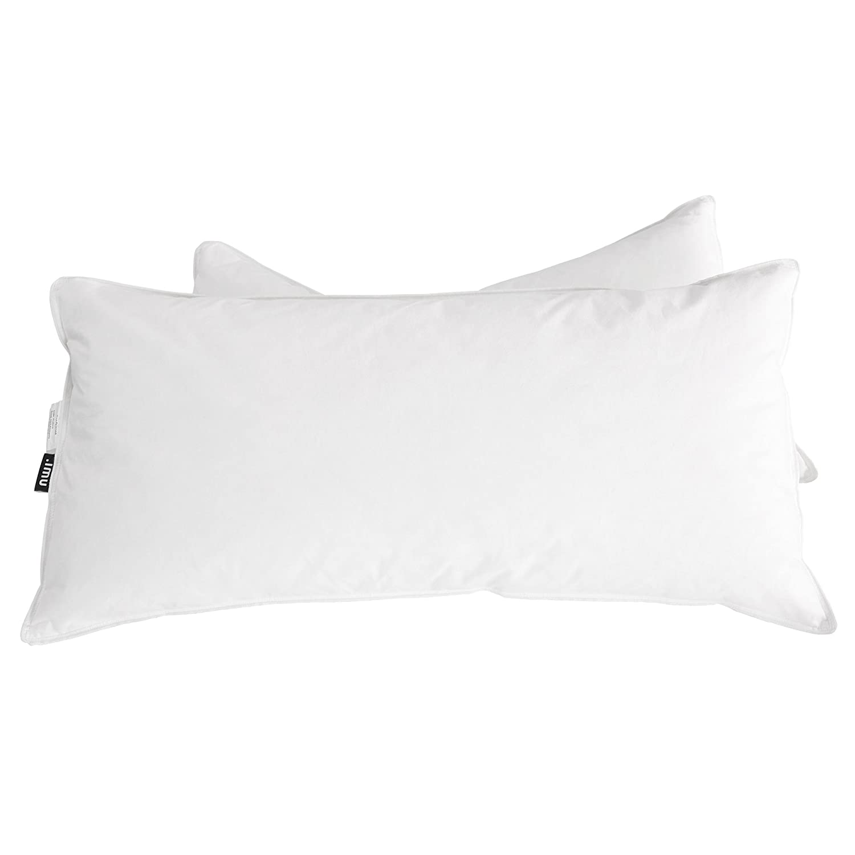 Umi.Essentials Ganzjahres Daunen Waschbares Kissen Mit Atmungsaktivem Baumwollbezug 40x80cm 2er Pack Weiß