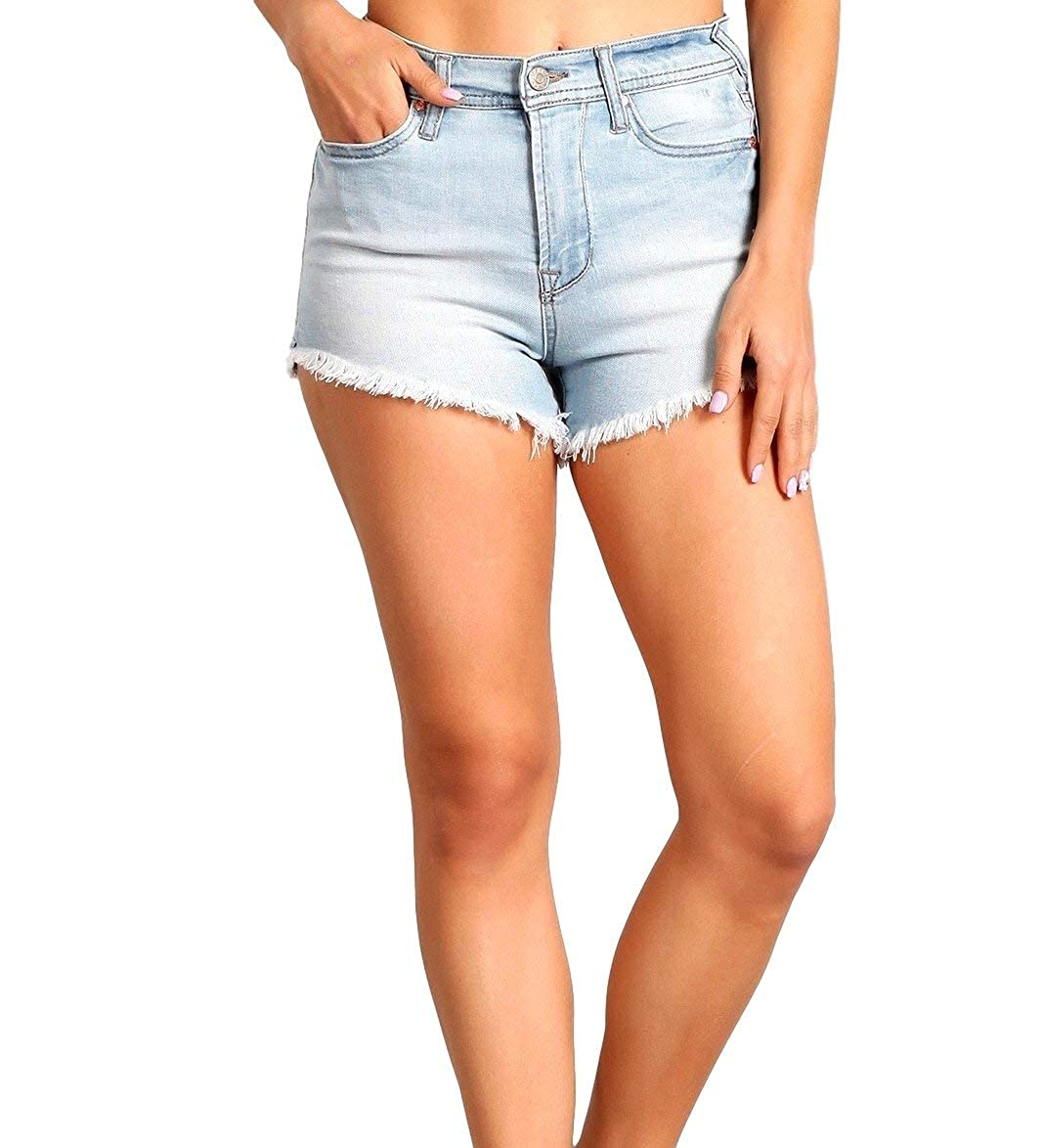 Celebrity Pink Womens High Rise Slit and Frayed Hem Shorts