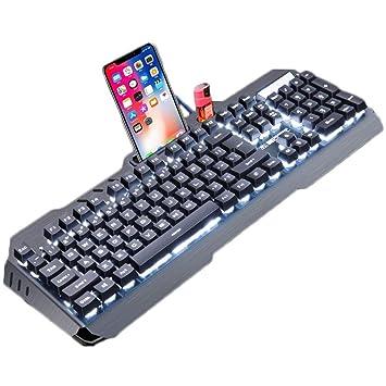 OUKB Juego Teclado Ordenador portátil con Cable Computadora de Escritorio Sentido mecánico Retroiluminación Oficina Esports Panel de Metal USB Externo ...