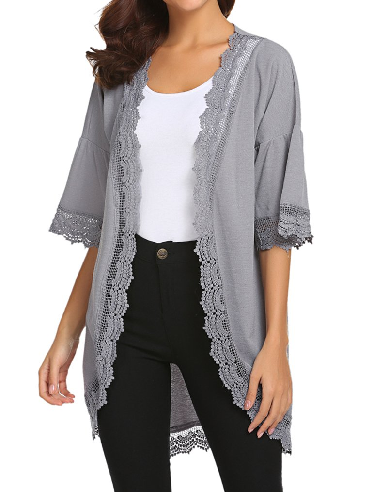 Tobrief Women Summer Beach Lace Cardigan Flare Sleeve Kimono Cover Ups (XL, Gray)