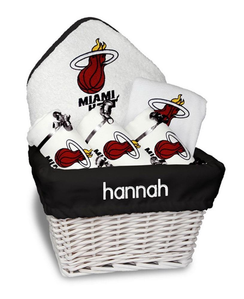 Designs by Chad and Jake Baby Personalized Miami HEAT Medium Gift Basket One Size White