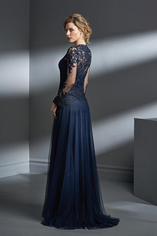 kelaixiang Womens Floral Lace Long Sleeves Long Bridesmaid Maxi Dress