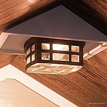 "Luxury Craftsman Outdoor Ceiling Light, Small Size: 5.75""H x 12""W, with Tudor Style Elements, Highly-Detailed Design, Oil Rubbed Parisian Bronze Finish and Water Glass, UQL1249 by Urban Ambiance"