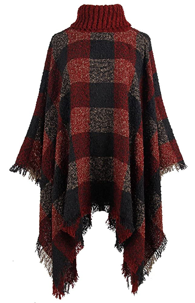 QZUnique Women Turtleneck Poncho Sweater Knit Cape Pullover Shawl Tassels Plaid GBD-MMY-WM69137