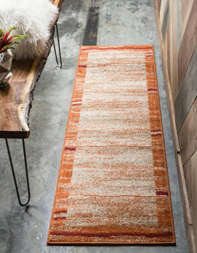 Unique Loom Autumn Collection Rustic Casual Warm Toned Border Terracotta Runner Rug (2' x 6')