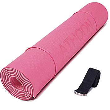 ATHOON Thick Yoga Mat with Strap Eco Friendly Non Slip Exercise TPE Yoga Mat for Men & Women Outdoor and Indoor